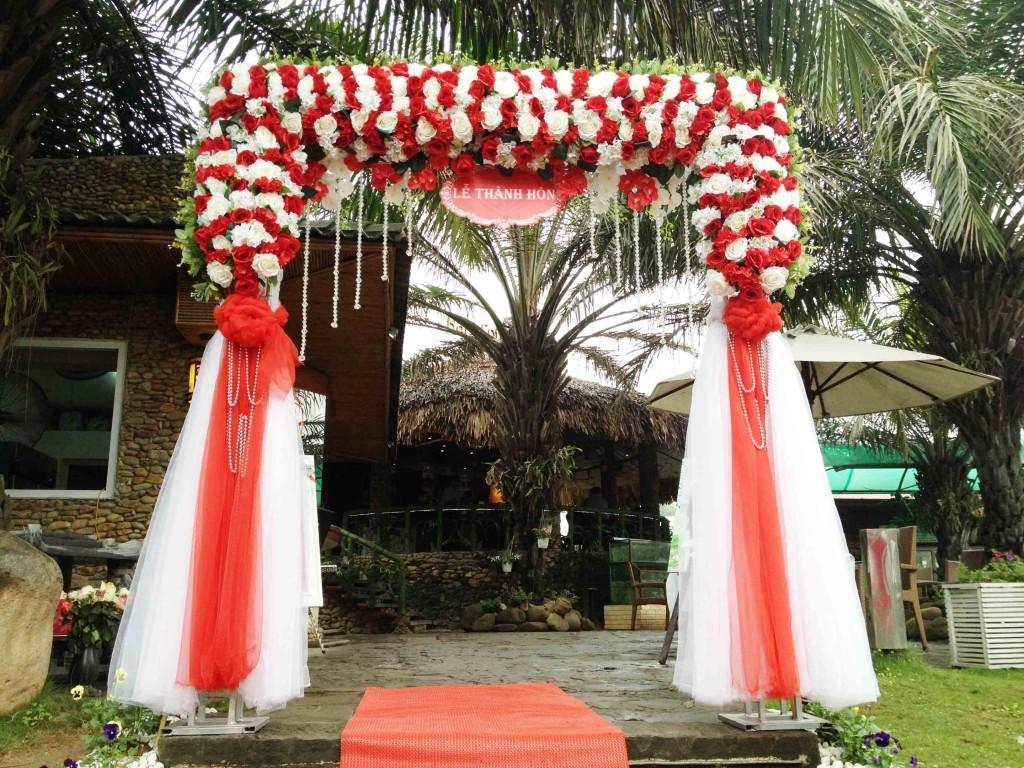 Cổng hoa lụa, cổng hoa đẹp, cho thuê cổng hoa, cổng hoa đám cưới