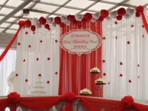 Phông cưới lụa, phông lụa cưới, phông hoa giấy, phông lụa hoa giấy, phông lụa khánh tên
