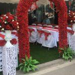 Cổng hoa lụa đám cưới