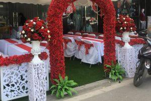 Cổng hoa lụa trang trí cưới hỏi