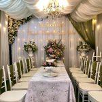 Bàn ghế cưới hỏi trắng xanh