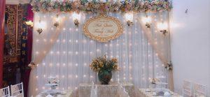 cổng hoa lụa, phông lụa cưới, trang trí cho thuê bàn ghế, ấm chén